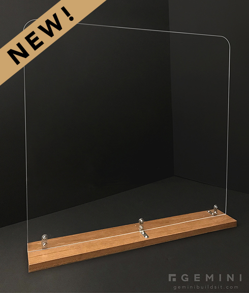 30in Square Plexiglass Guard with Cherry Wood Base - Gemini Builds It