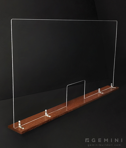 Large 46in Acrylic Divider with Stained Wood Base - Gemini Builds It